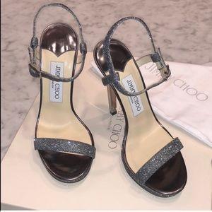 Jimmy Choo Glittered Silver Sandals